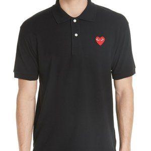 Comme des Garcons PLAY Black Polo Shirt Heart L